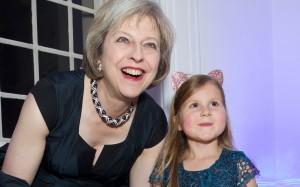 Home Secretary Theresa May with Aliena
