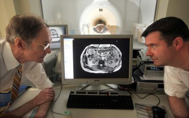 Professor Roy Taylor with Radiographer Tim Hodgson